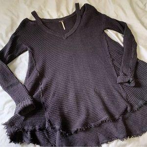 Free People Moonshine Cold Shoulder Sweater Brown